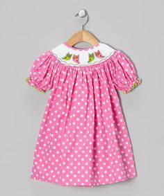 Take a look at this Pink Polka Dot Owl Bishop Dress - Infant, Toddler & Girls on zulily today!