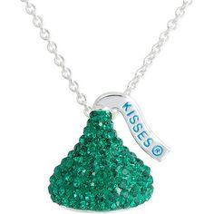 "Hershey's Kiss Emerald Green Crystal Silvertone Pendant, 18"""