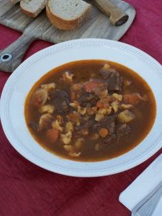 "My Grandmother's Ravioli - Julia Garay - Goulash is a Soup, Not a Stew: Gulyas (Hungarian Beef Vegetable Soup) with ""Pinchie"" Noodles Hungarian Cuisine, Hungarian Recipes, Hungarian Food, Chinese Coleslaw, Chili Soup, Austrian Recipes, Noodle Recipes, Soup Recipes, Soups And Stews"
