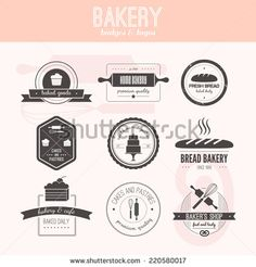 set of vector bakery logos. bread and pasteries labels badges and design elements. Baker Shop, Find Logo, Bakery Logo, Badge Logo, Fresh Bread, Pastry Cake, Logo Images, Baked Goods, Design Elements
