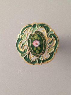 Antique Pierced French Enamel Button in Greens w A Floral Design | eBay