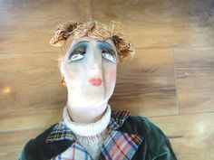 """Vintage French Cloth Face Doll Bisque Hands ALL Original 33"""" Made IN France 