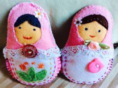 2 pink babushki, made as gifts