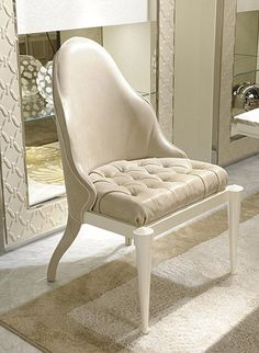 Dining Chairs - MOTHER OF PEARL & LEATHER DINING CHAIR A1040