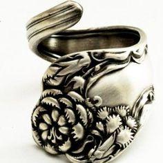 Spoon Ring Vintage Carnation Art Nouveau Sterling Silver 1813 | Spoonier - Jewelry on ArtFire