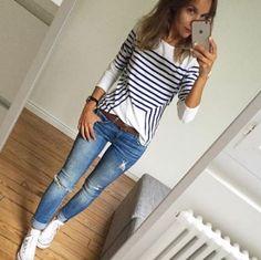 Moda in ufficio: Autunno outfits. Look Fashion, Trendy Fashion, Autumn Fashion, Fashion Outfits, Womens Fashion, Converse Fashion, Fashion Trends, Mode Swag, Looks Jeans