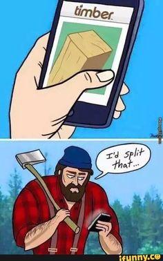 tinder, timber, lumberjack, splitandget