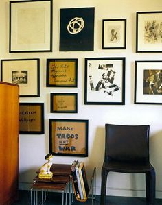 make tacos not war, i beg to differ, mexican wallpaper, leather magazine rack, nesting tables, gallery wall, warm clean lines
