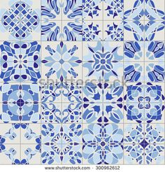 Retro vintage ceramic tile seamless pattern