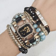 Statement bracelets for a Breakfast at Tiffany's bride-to-be. Chloe + Isabel wrap bracelets, statement jewelry, tiffanys blue, black, gold