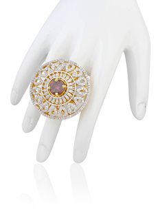 American diamonds ring with rhodolite stone in two tone finish
