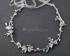 Ivory Pearl and Jewels Bridal Hair Vine