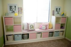 Here are my IKEA shelves that I hacked for my daughters playroom!:) Here are my IKEA shelves that I hacked for my daughters playroom!:) The post Here are my IKEA shelves that I hacked for my daughters playroom!:) appeared first on Babyzimmer ideen. Ikea Girls Room, Ikea Kids Playroom, Playroom Ideas, Ikea Kids Bedroom, Room Kids, Bedroom Ideas, Kids Bedroom Organization, Playroom Storage, Diy Storage