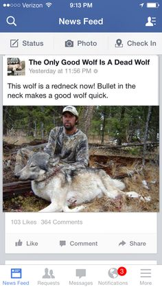 """The lowlifes behind the page """"the only good wolf is a dead wolf"""". I hate this page, they are ignorant fools!!!!"""