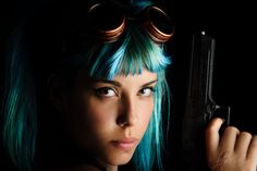 © 2015 byMaC Photography bymacphotography.com #bymac #2015 #steampunk #gun #bluehair