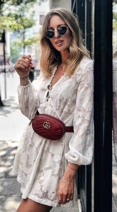What To Wear This Summer White Dress And Red Velvet Bag