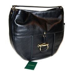 Ralph Lauren Women Collection Equestrian Leather Handbag Purse Tote Bag Black