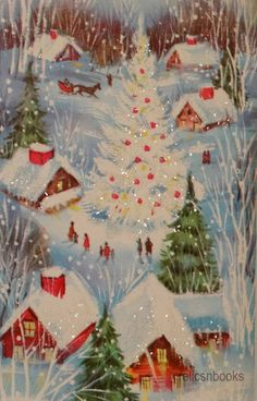 1086 50s Glittered Tree in The Square Vintage Christmas Card Greeting | eBay
