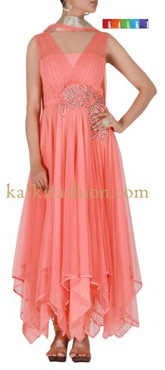 Buy it now  http://www.kalkifashion.com/peach-suit-with-french-knot-and-thread-work.html  Peach suit with french knot and thread work