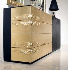 Notable Art Deco aesthetics are reflected in the fine intricacies of the gold leaf carvings of this exquisite Luxus sideboard. The gold hues combines Upcycled Furniture, Painted Furniture, Home Furniture, Furniture Design, Metallic Furniture, Upcycle Home, Neoclassical Interior, Modern Buffet, Room Setup