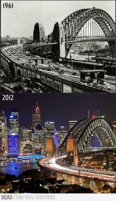 Sydney: 51 years difference  www.pinterest.com/wholoves/Sydney   #sydney #australia