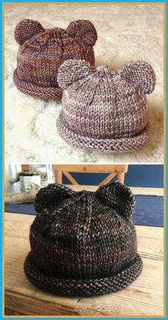Itty Bitty Bear Cubs - Free Pattern - knitting is as easy as 3 The St . - Itty Bitty Bear Cubs – Free Pattern – Knitting is as easy as 3 Knitting boils down to thr - Baby Hat Knitting Patterns Free, Baby Hats Knitting, Easy Knitting, Knitted Hats, Free Pattern, Crochet Patterns, Beginner Knitting, Knitting Needles, Start Knitting