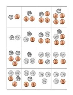 COIN TOP-IT GAME (DIMES, NICKELS, AND PENNIES) - freebie