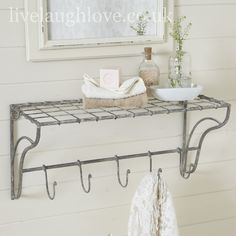 French Vintage Style Metal Shelf with 5 Hooks .shabby chic