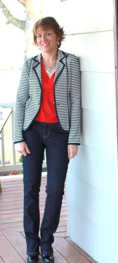 Pattern tips Mccalls 9711-Navy Stripe Blazer and Red Jersey Top