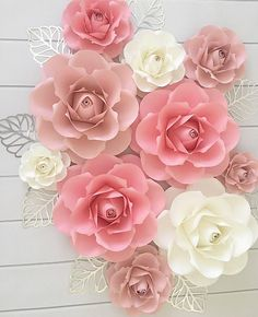 Your place to buy and sell all things handmade Paper Flower Patterns, Paper Flowers Craft, Paper Flower Wall, Paper Flower Backdrop, Giant Paper Flowers, Flower Wall Decor, Faux Flowers, Flower Crafts, Diy Flowers