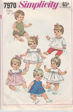 Simplicity-7970-1968-Baby-Doll-Clothing-Sewing-Pattern-Wardrobe-for-12-13
