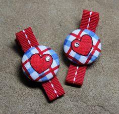 Red White & Blue Heart Button Hair Clips by ThreeLittleHams  $6.50