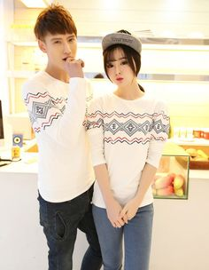 CC00284 Spring printing T-shirt long sleeve couple clothes