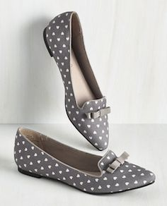 Cute grey polka dot flats