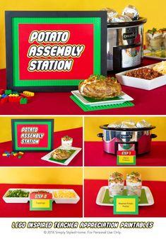 Potato Bar from a Lego Inspired Teacher Appreciation Party via Kara's Party Ideas! KarasPartyIdeas.com (11)