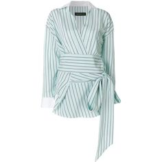 Alexandre Vauthier asymmetric pinstripe shirt ($1,117) ❤ liked on Polyvore featuring tops, green, green long sleeve shirt, collar top, long sleeve asymmetric top, low v neck tops and deep v neck top