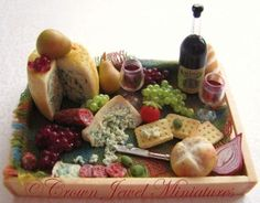 #Miniature meats, cheeses, & breads tray www.crownjewelminiatures.com