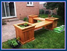 I worked from your free plans that I found online. Made a couple small modifications to the planter bench plans to suit my needs and for easier assembly. I used western red cedar for my project. Woodworking Outdoor Furniture, Woodworking Projects That Sell, Woodworking Bench, Outdoor Furniture Sets, Japanese Woodworking, Furniture Ideas, Woodworking Machinery, Furniture Logo, Woodworking Classes