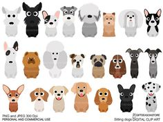 Sitting dogs digital clip art for Personal and by Giftseasonstore