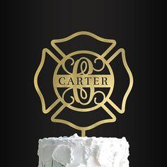 Maltese Cross Cake Topper, Firefighter Cake Topper, Firefighter Wedding, Fireman Cake Topper, Wedding, Personalized, Initial, Monogrammed