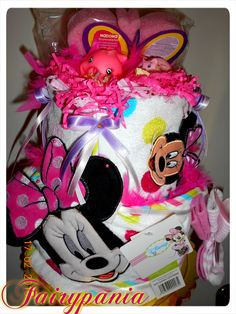 minnie mouse new born diaper cake with towels