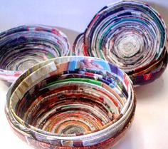 The high school Art I students have been crafting bowls from rolled strips of magazines.  The only materials used in the bowls are recycled ...