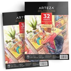 ARTEZA Drawing Bundle Professional Colored Pencils Set of 48 and 9x12 Drawing Pad Pack of 2