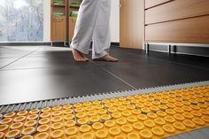 How to buy the right heated floors heated floors schluter®-ditra-heat ZLVKVCH Heated Bathroom Floor, Heated Concrete Floor, Bathroom Floor Tiles, Concrete Floors, Tiled Floors, Installing Heated Floors, Radiant Floor, Basement Flooring, Trendy Home