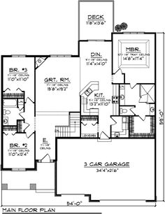 Ranch House Plan 72988 Level One