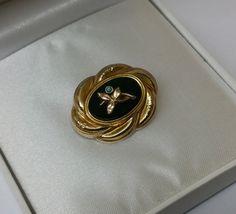 Biedermeier Brosche Onyx Türkisperle antik Shabby von Schmuckbaron