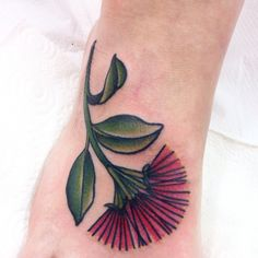 Foot Tattoo. Pohutukawa Flower tattoo by Cassandra Frances. Botanical tattoo