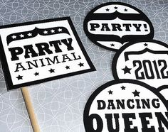 New Years Photo Booth props - cool sayings to write on the chalkboard