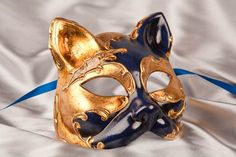 Masquerade Cat Mask with Gold Leaf Overlay