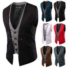Fashion Men Jacket Suit Slim Fit Vest Casual Business Formal Vest Waistcoat Tops   Clothing, Shoes & Accessories, Men's Clothing, Vests   eBay!